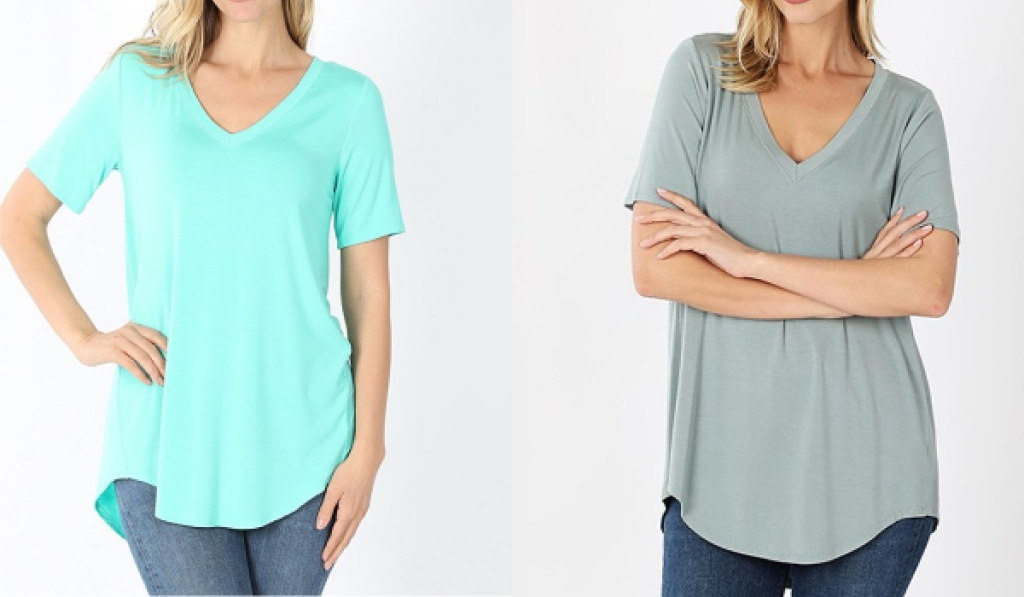 womens hi-low tees mint and gray