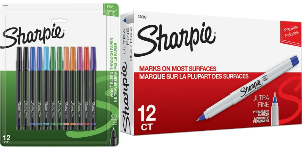 sharpie markers assorted and blue in box
