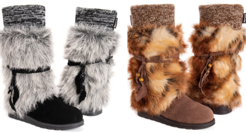 muk luks womens leeza boots black fur lined and brown fur lined