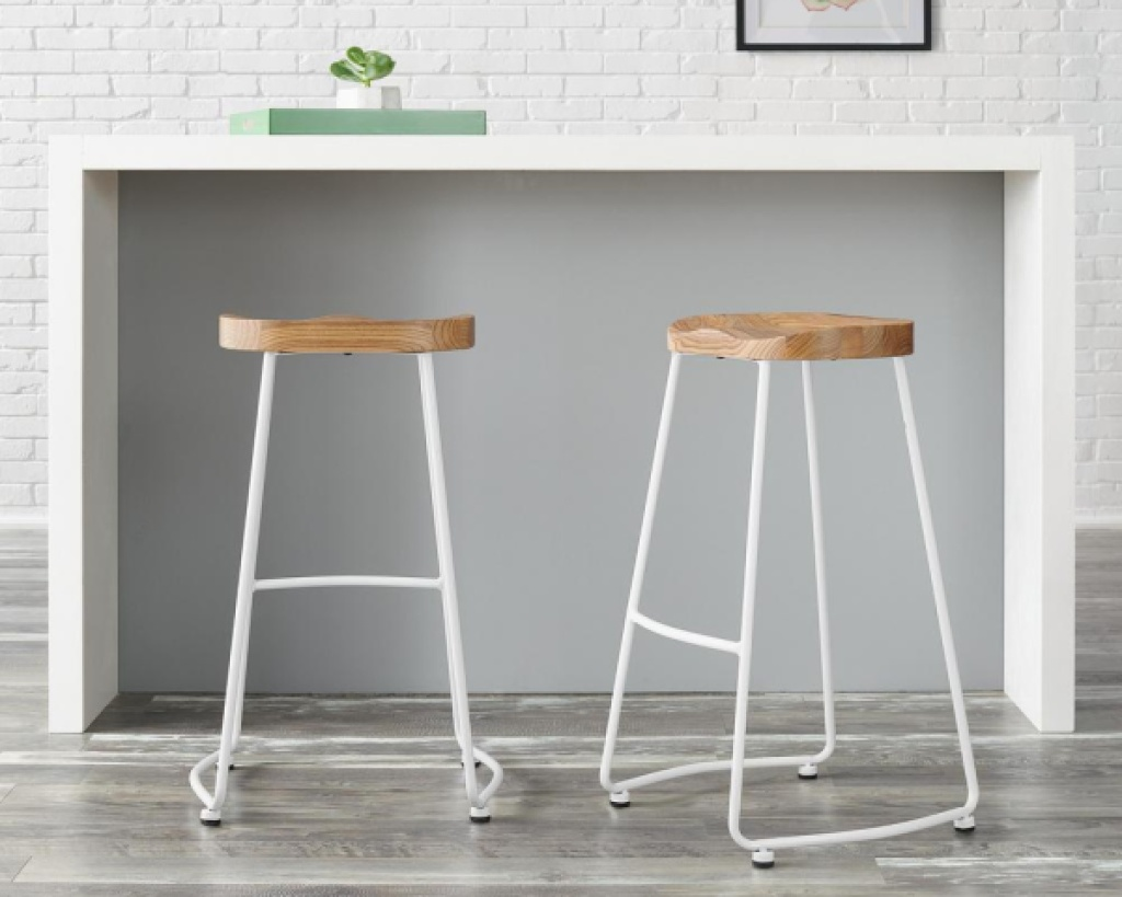 stylewell metal backless farmhouse barstool set of 2 at counter