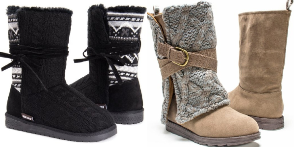 muk luks womens boots black and tan
