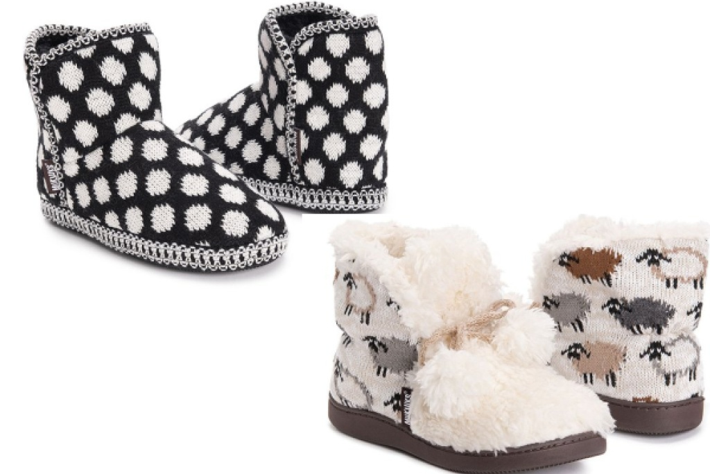 muk luks womens slipper boots polka dot and lamb patterns