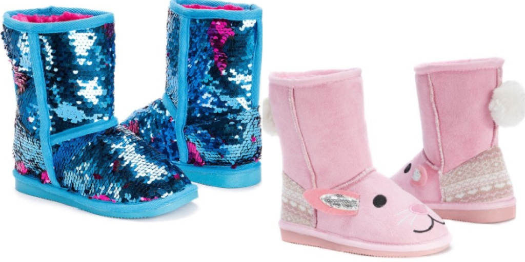 muk luks kids boots sequin and bunny