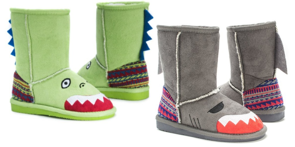 muk luks kids boots dinosaur and shark