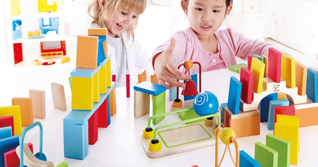 hape dynamo domino set kids playing with toy