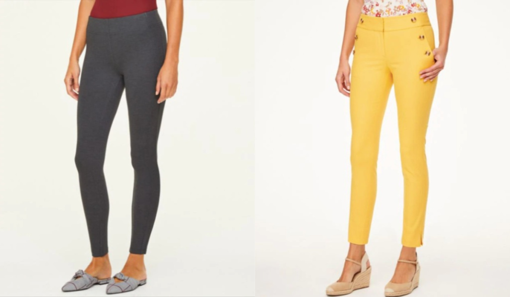 LOFT womens pants gray and yellow