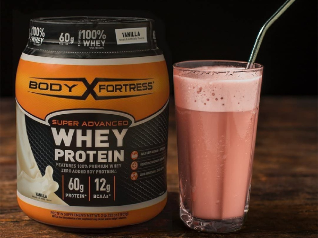 body fortess whey protein with shake
