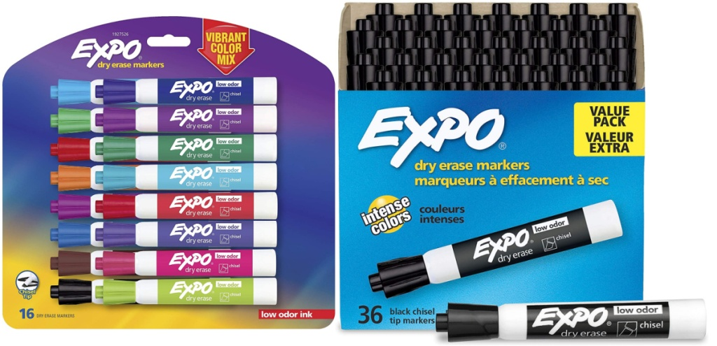 expo markers giant packs assorted colors and black side by side