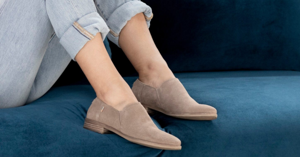 TOMS womens shaye low booties on couch