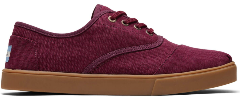 TOMS mens cupsole maroon shoe