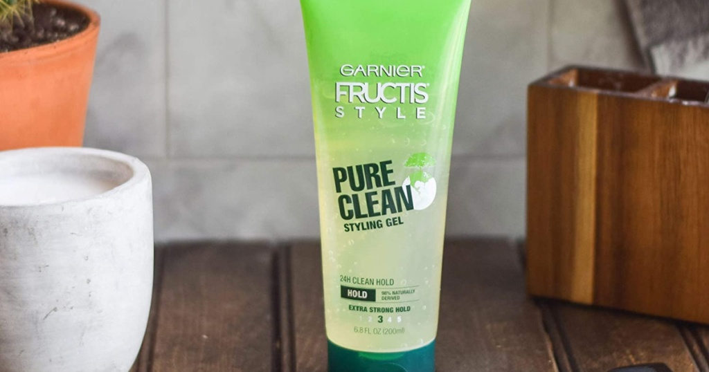 garnier fructis pure clean styling gel on wood counter