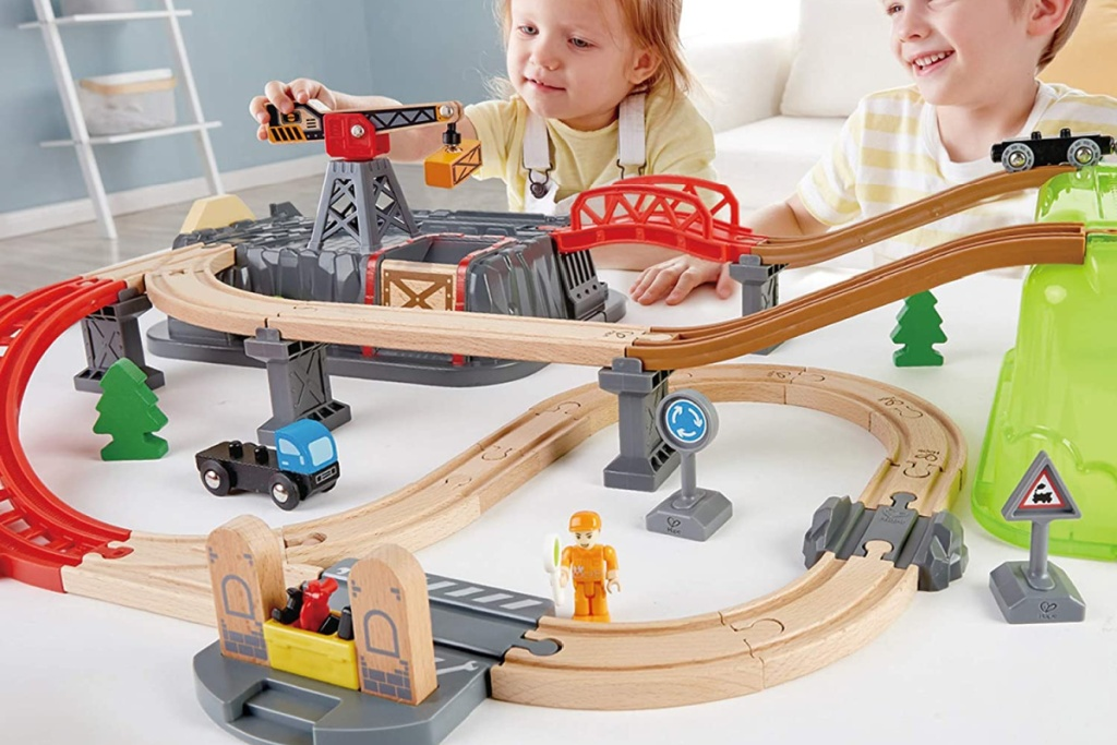hape wooden railway set kids playing with
