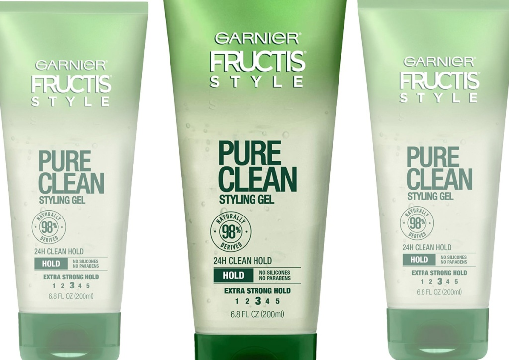 garnier fructis pure clean styling gel three side by side