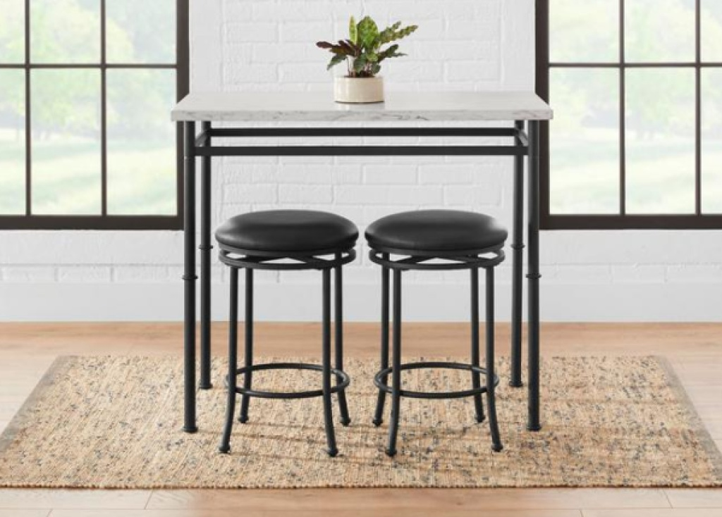 stylewell 3-piece dining set w/ faux marble top two stools under table