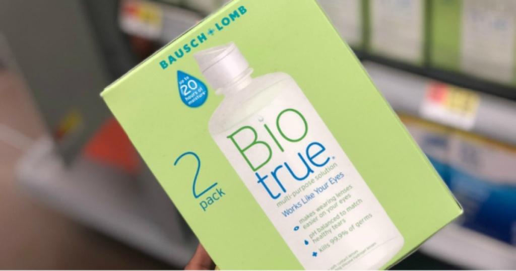 bausch + lomb biotrue contact solution in hand in store