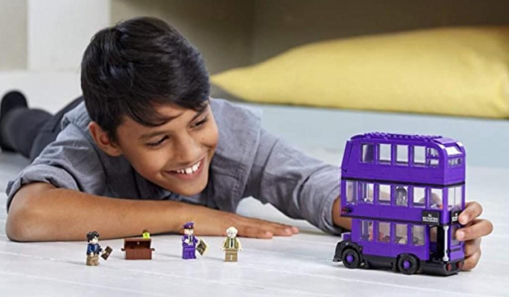 LEGO harry potter prisoner of azkaban bus little boy playing on floor