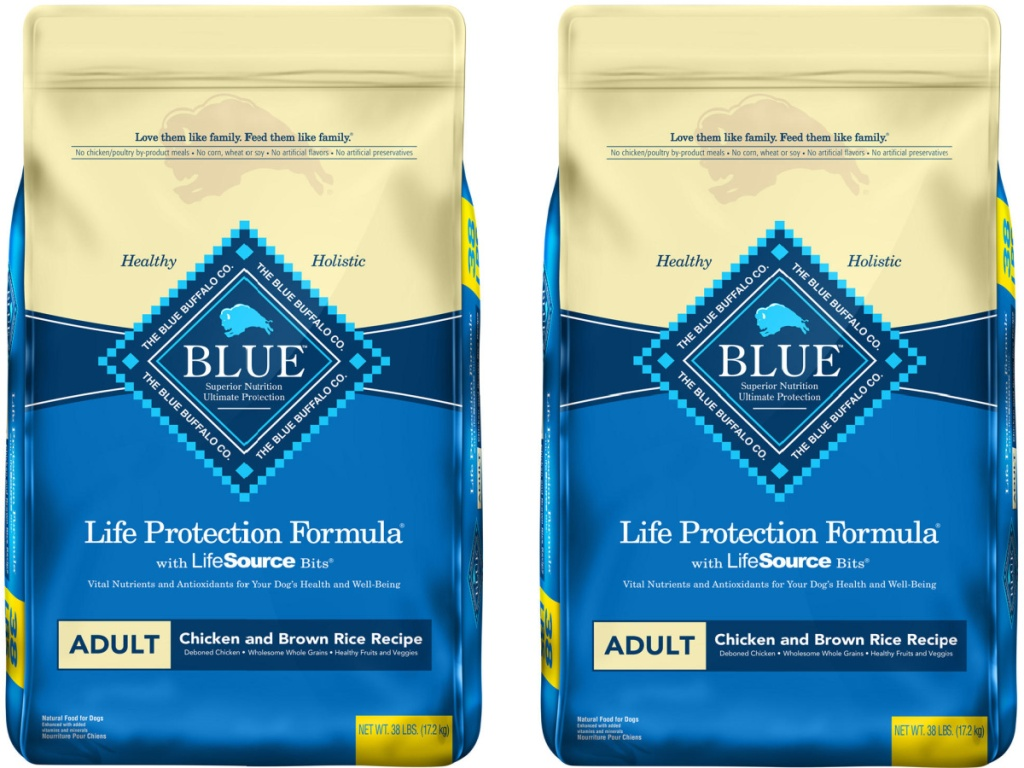 two bags of Blue Buffalo Life Protection Formula Natural Adult Dry Dog Food, Chicken & Brown Rice