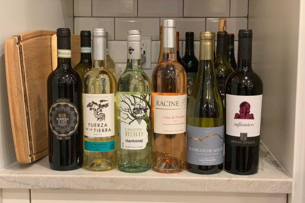 wine bottles on a kitchen counter