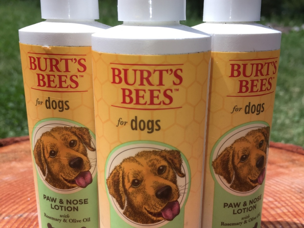 three bottles of dog nose and paw lotion outdoors