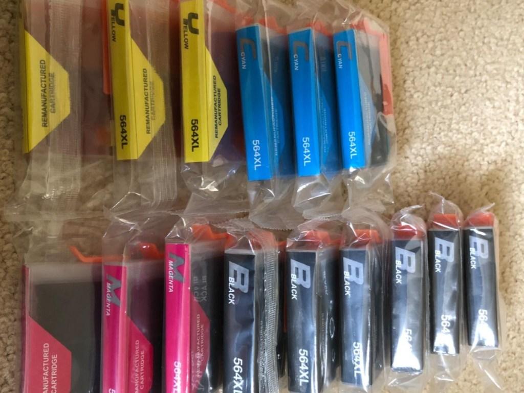 ink cartridges on floor