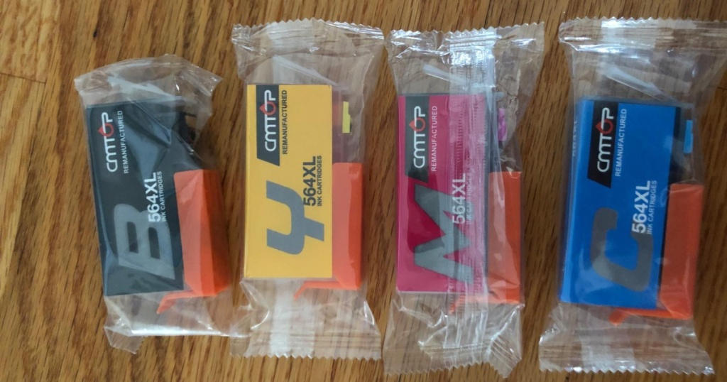 black yellow cyan and blue ink cartridges