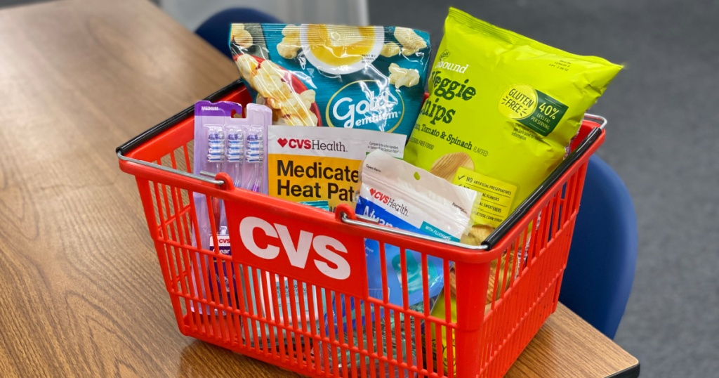 cvs basket with popcorn, and health care products