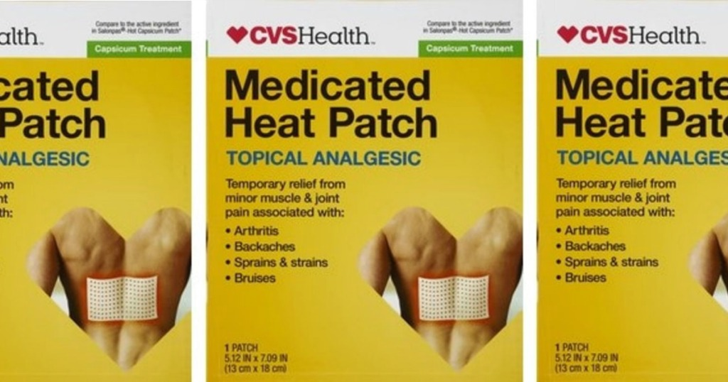 three images of a CVS Heat Patch