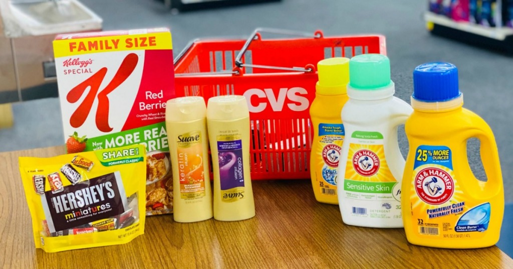 Hershey's, Kellogg's, Suave and Arm & Hammer products by CVS basket