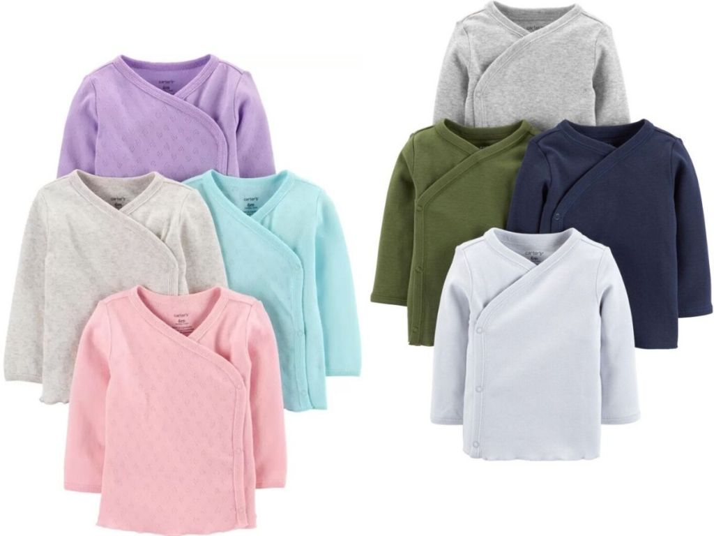 two 4-pack sets of side snap tees for babies