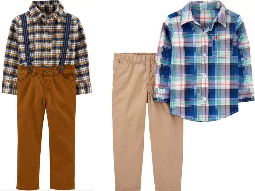 boys two piece pant and shirt sets