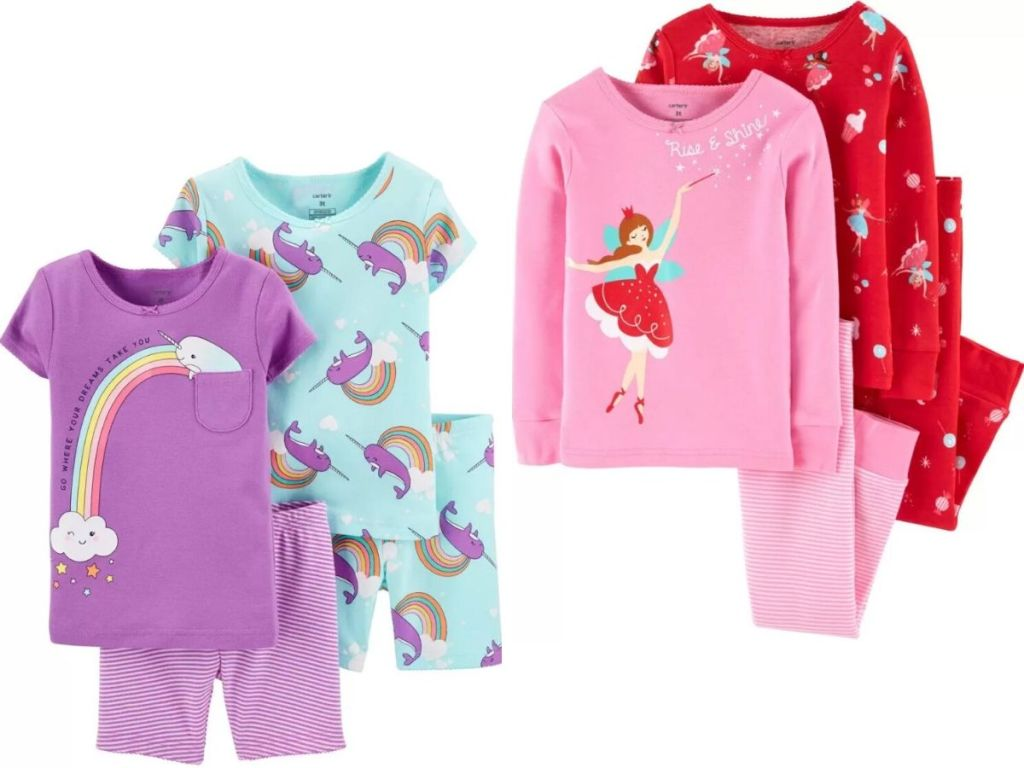two pairs of pajamas sets for girls