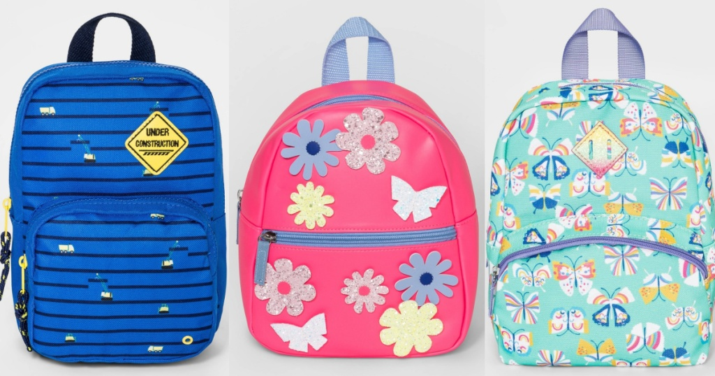 three different designed toddler backpacks