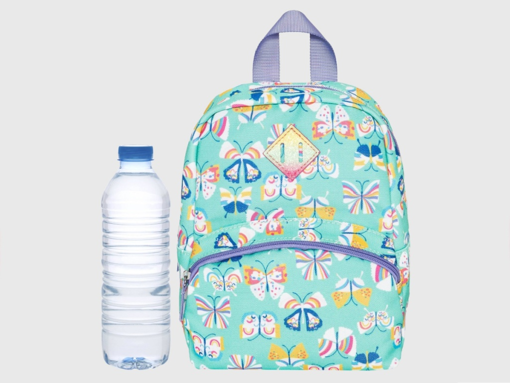 light green butterfly patterned toddler girls backpack and water bottle