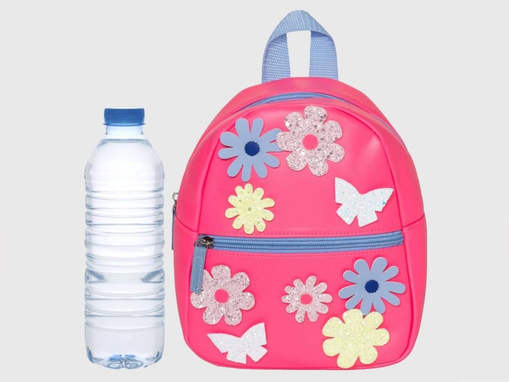pink flower patterned toddler girls backpack and water bottle
