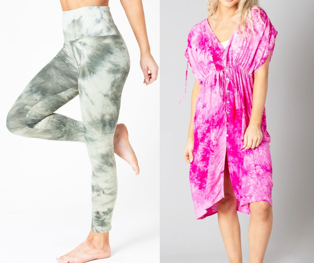 women modeling green tie dye leggings an pink tie dye dress