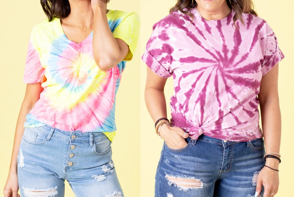 two women modeling tie dye shirts in multi color and pink