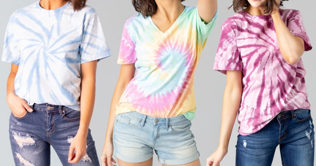 three women modeling tie dye t-shirts in blue, multi color, and pink