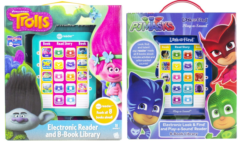 trolls and PJ masks character electronic reader and book sets