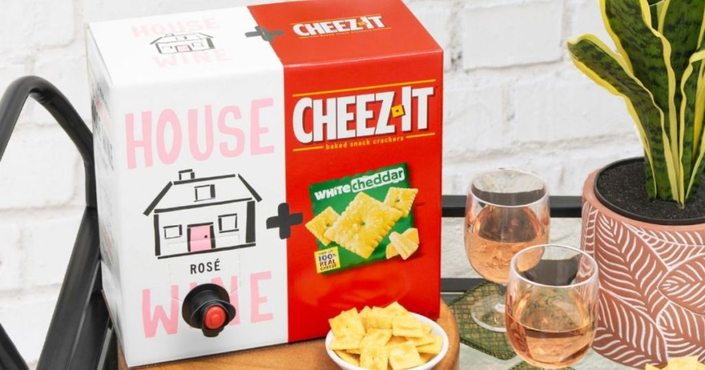 box of wine with built in box of cheez-its crackers