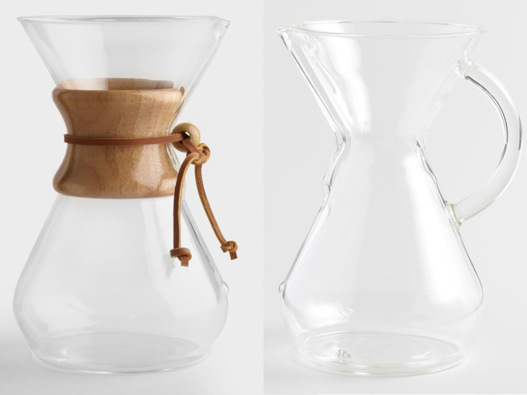 two pour over glass coffee makers