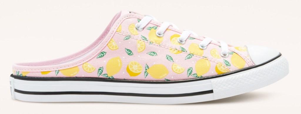 womens light pink slip on converse shoe with lemon print