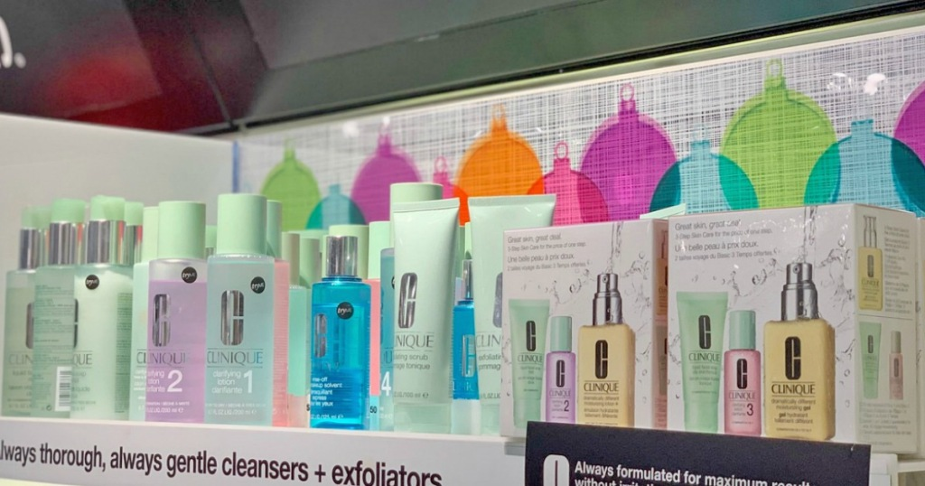 clinique skincare on display at store