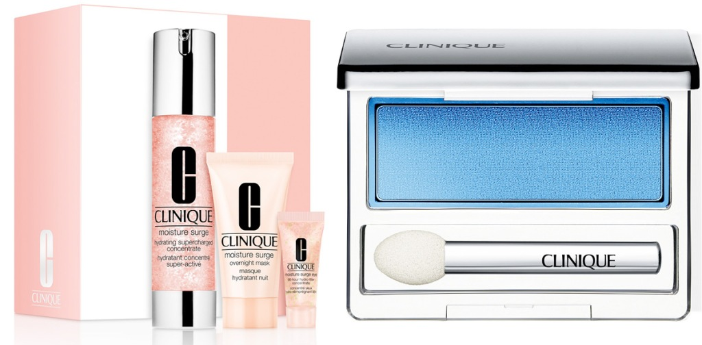 pink three piece clinique skincare set and blue eyeshadow single