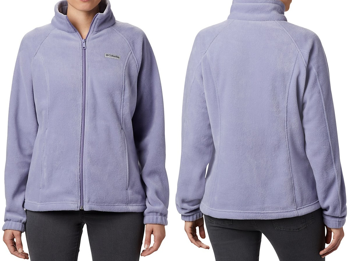 woman in light purple fleece jacket