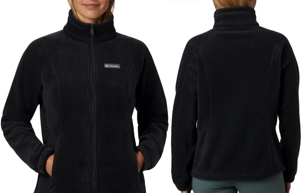 woman in black fleece jacket