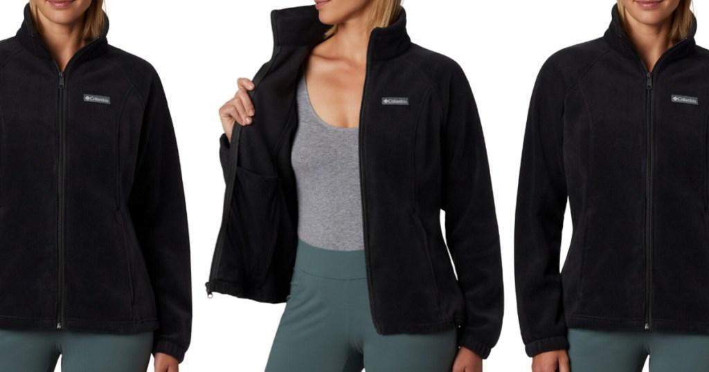 woman in black fleece jacket, gray top, and green pants