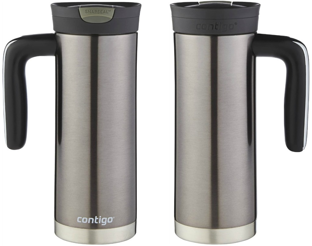 Front and back view of a stainless steel travel mug