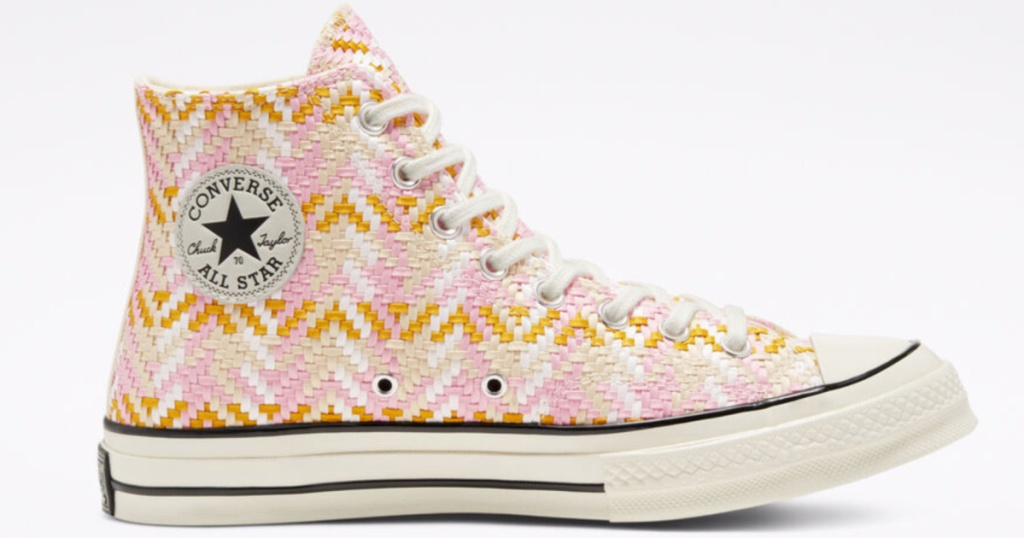 yellow weave converse high tops