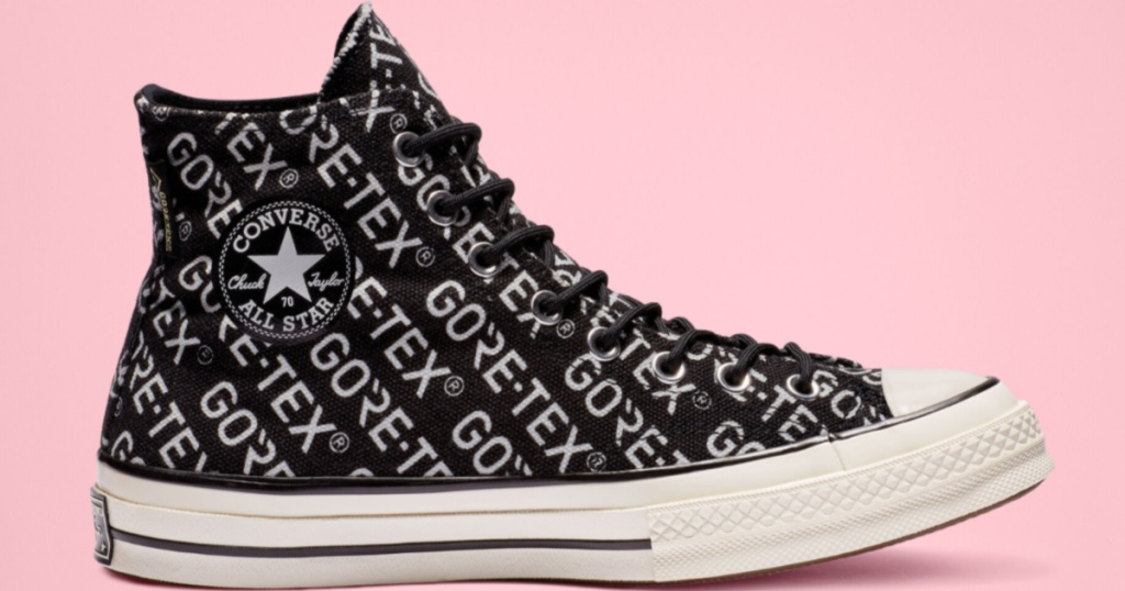 printed black and white high top converse