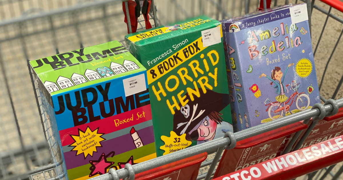 three childrens book sets in costco cart
